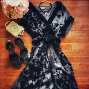 BCBGMaxAzria | Velvet Floral Dress | Black